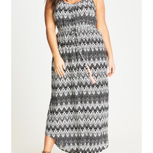 City Chic Dresses & Skirts - Mono Print Maxi Dress